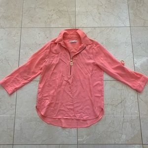 Michael Kors Like New Coral and Gold Blouse Sz L